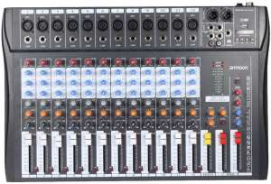 ammoon 120S-USB 48V Phantom Power 12 Channel Digital Audio Mixer