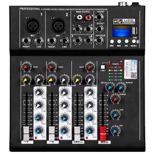 Depusheng HT4 Professional USB Jack Portable 4-Channel Audio Mixer