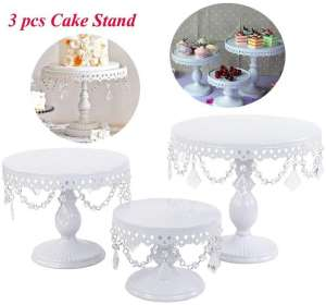 2013Newestseller 3-Set Round Cake Stands with Pendants & Beads