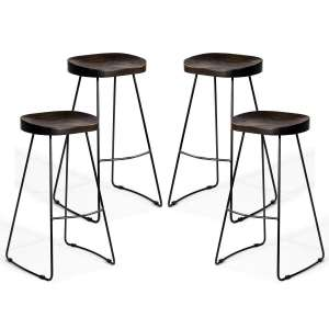 COSTWAY Outdoor Metal Stools Backless Industrial Counter Height Bar Stools