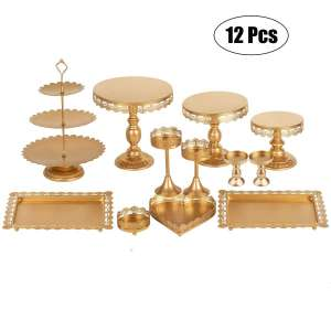 Gluinor Party Golden Cake Stand - Set of 12 Pieces