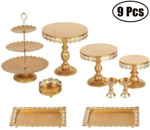Gooteff Golden Cake Stand - Set of 9 Pieces