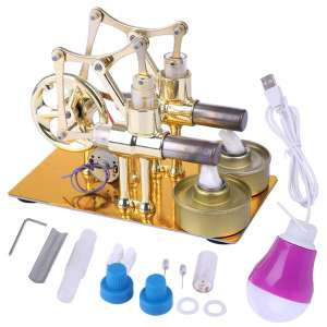 HMANE Metal Hot Heat Steam Double Cylinder Physics Stirling Engine
