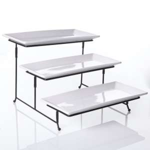Gibson 3 Tier Serving Platter, White