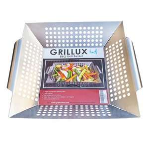2. Grillux Vegetable Grill Basket for Meat, Fish, Grilling, Pizza or Kabob
