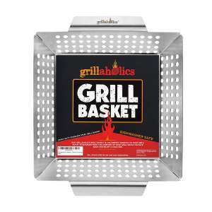 3. Grillaholics Heavy Duty Stainless Steel Large Grill Basket Perfect for All Grills