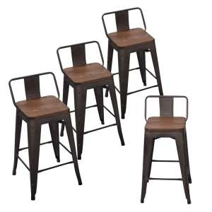 Andeworld Tolix-Style Low Back Bar Stools (Set of 4)
