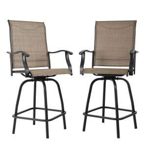 PHI VILLA 2 Pack All-Weather Swivel Barstools