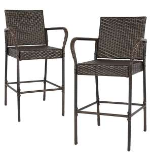 Best Choice Products Outdoor Patio Brown Wicker Barstool