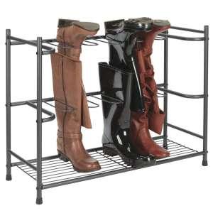 mDesign 6-Pairs Space-Saving Boot Organizer and Storage Rack