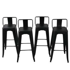 Belleze 24-inch Set of 4 Low Back Outdoor Counter Height Barstools