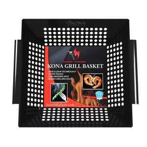 7. Kona Best Vegetable Safe and Clean Porcelain Grill Basket for Veggies Meats Seafood