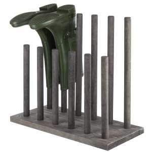 MyGift 6-Pair Distressed Gray Wood Boot Storage Rack