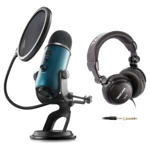Yeti Teal USB Microphone with Studio Headphones