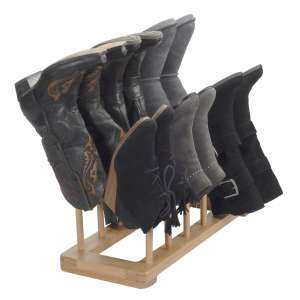 MobileVision 6-Pairs Free Standing Bamboo Boot Rack