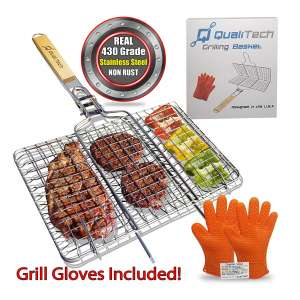8. Qualitech Non-Stick 430 Stainless Steel Folding Grilling Basket