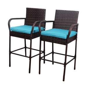 Sundale Outdoor 2 Pcs counter height Wicker Barstool