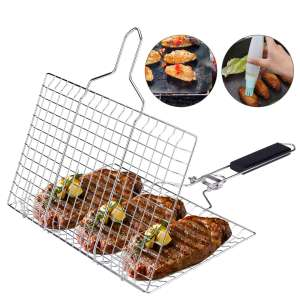 9. ACMETOP BBQ Stainless Steel Grill Basket with Removable Handle