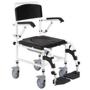 HOMCOM Personal Assist Shower Commode Mobility Wheelchair