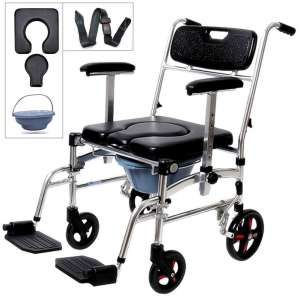 Nurth 4 in 1 Commode Mobile Wheelchair Shower Transport Chair