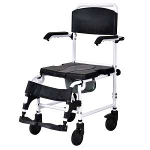 Giantex Over Toilet Shower Wheelchair with Padded Seat Backrest and Footrest