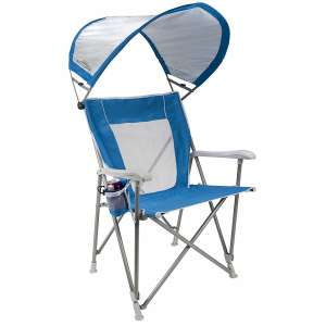 GCI Outdoor Waterside Folding SunShade Captain's Beach Chairs with shade