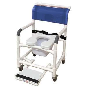 MJM International Wide Shower Chair with Safety Belt, Soft Seat, and Total Lock Casters