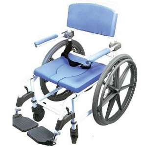 EZee Life Bath Toilet Shower Commode Wheelchair With 24-inch Wheels