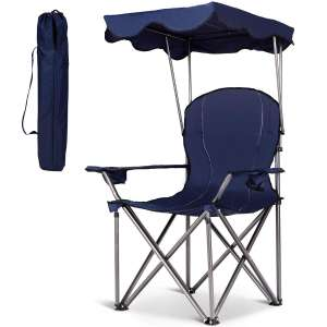 GYMAX Portable Beach Camp Chairs with shade