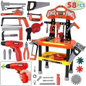 JOYIN 58 Pieces Kids' Toy Workbench