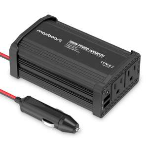 7. Maxboost 300W Car Power Inverter with USB Charger and Dual 110V AC Outlet
