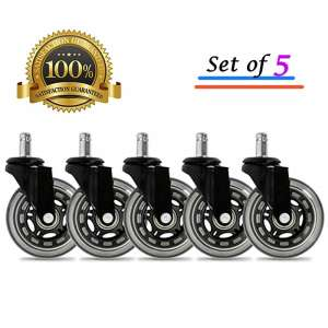 BF BRIGHTFIELD Set of 5 Universal Office Chair Caster Wheels Safe