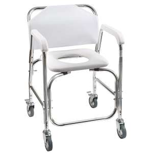 DMI Commode Transport Chair Rolling Shower for Handicap Injured and Disabled