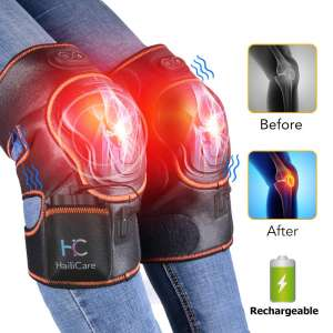 HailiCare Massaging Heated Wireless Knee Brace Wrap Pad Massager for Joint Pain