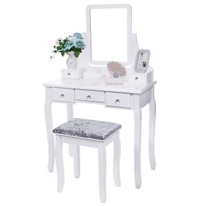 BEWISHOME Vanity Set with Mirror and Cushioned Stool, White