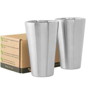 2. Better For You Stainless Steel Tumbler Glasses - Set of 2 (BPA Free)