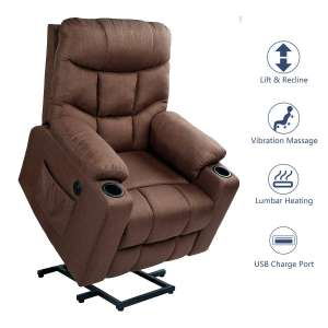 2. Esright Fabric Lift Chair for the Elderly with Heater and 2 Cup Holders, Brown