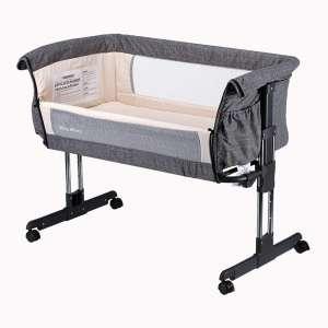 2. Mika Micky Folding Portable Bedside Crib, Grey