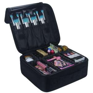 2. Relavel Travel Makeup Case-Cosmetics Makeup Brushes Toiletry Jewelry