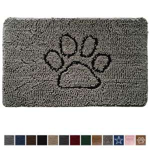 3. Gorilla Grip 30x20 Original Durable Absorbent Chenille Doormat, Paw Gray