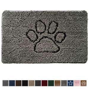 3. Gorilla Grip 30x20 Original Durable Absorbent Chenille Doormat, Paw Gray