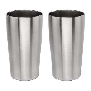 3. Lancaster Steel Stainless Vacuum Beer Tumbler - 16oz, set of 2