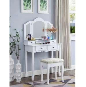 Roundhill Furniture White Wooden Vanity Set