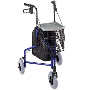 Duro-Med Folding 3 Wheel Rollator Walker with Detachable Storage Tray and Swiveling Front Wheels