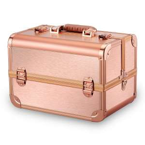 4. Ovonni Professional Portable Makeup Train Case/ Cosmetic Organizer Storage Box