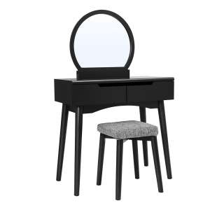 VASAGLE Vanity Table Set with Round Mirror and 2 Large Drawers