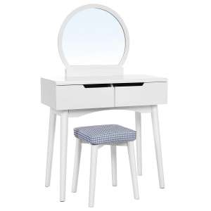 VASAGLE Vanity Table Set with Round Mirror and 2 Large Drawers, White