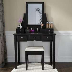 Amooly Vanity Set, 5 Large Sliding Drawers, Black