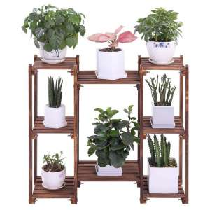 COOGOU Wood Plant Stands 8-Tier Flower Rack
