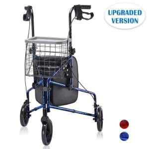 Health Line Massage Products 3 Wheel Aluminum Rollator Lite Lightweight Folding Walker